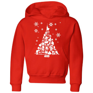 Star Wars Character Christmas Tree Kids' Christmas Hoodie - Red