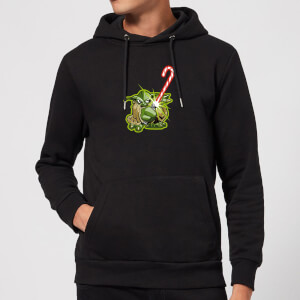 Star Wars Candy Cane Yoda Christmas Hoodie - Black