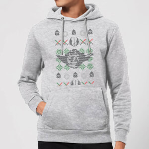 Star Wars Yoda Face Knit Christmas Hoodie - Grey