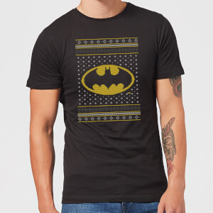 DC Batman Knit Men's Christmas T-Shirt - Black