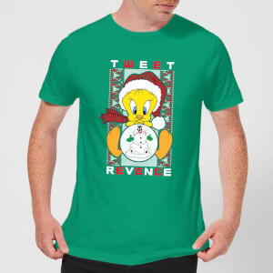 Looney Tunes Tweety Pie Tweet Revenge Men's Christmas T-Shirt - Kelly Green