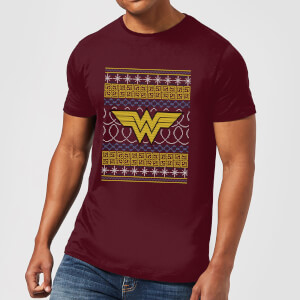 DC Wonder Woman Knit Herren Christmas T-Shirt - Burgunderrot
