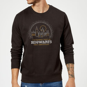 Harry Potter I'd Rather Stay At Hogwarts Christmas Sweater - Black