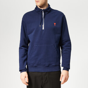 AMI Men's Heart Embroidered Zip Sweatshirt - Navy