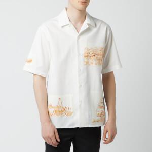 AMI Men's Camp Collar Patch Shirt - White