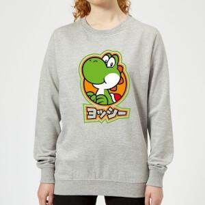 Nintendo Super Mario Yoshi Kanji Women's Sweatshirt - Grey