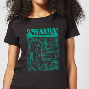 Nintendo Super Nintendo Entertainment System Blueprint Women's T-Shirt - Black