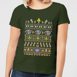 Nintendo Retro Women's Christmas T-Shirt - Forest Green