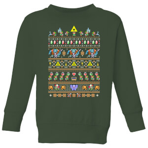 Nintendo Super Mario Retro Kid's Christmas Sweatshirt - Forest Green