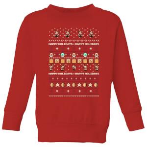 Nintendo Super Mario Happy Holidays The Good Guys Kid's Christmas Sweatshirt - Red
