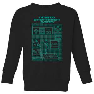 Nintendo NES Controller Blueprint Kid's Sweatshirt - Black