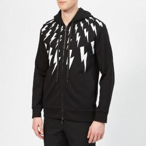Neil Barrett Men's Bolt Fairisle Zip Hoodie - Black/White