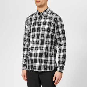 Neil Barrett Men's Pierced Collar Tartan Shirt - Black/White