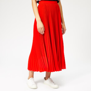MSGM Women's Pleated Crepe Skirt - Red