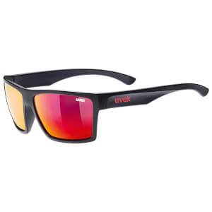 Uvex LGL 29 Mirror Lifestyle Glasses - Black Matte/Red