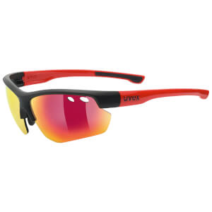 Uvex Sportstyle 115 Glasses - Black Matte/Red
