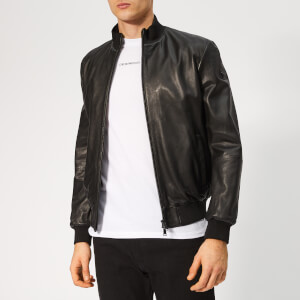Emporio Armani Men's Leather Jacket - Nero