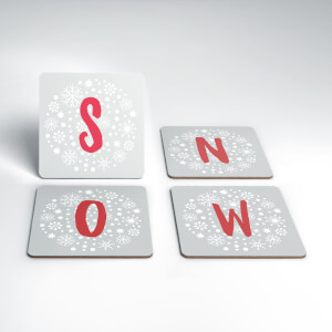 Snow Christmas Coaster Set