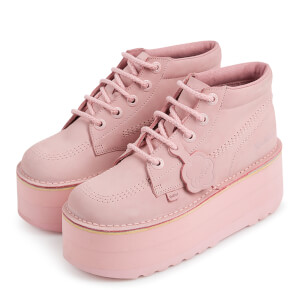Kickers Women's Kick Hi-Stack Leather Boots - Pastel Pink