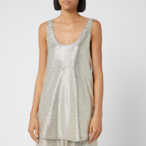 Balmain Women's Laminated Knit Tank Top - Silver