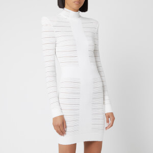 Balmain Women's Short Medical Stripe Dress - White