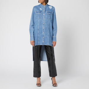 Balmain Women's Distressed Denim Shirt - Blue