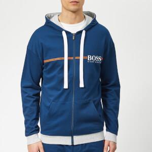 BOSS Men's Authentic Jersey/Brushed Zip Hoodie - Bright Blue