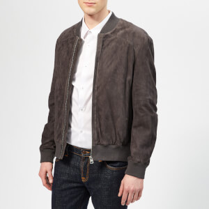 HUGO Men's Larris Leather Jacket - Dark Grey