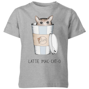Barlena Latte Mac-Cat-O Kids' T-Shirt - Grey