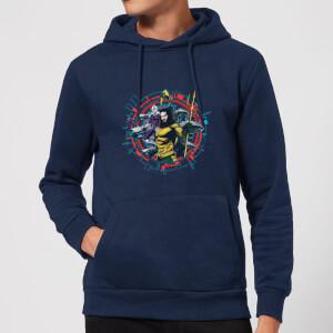 Aquaman Circular Portrait Hoodie - Navy