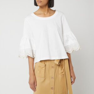 See By Chloé Women's Frill Sleeve Top - White