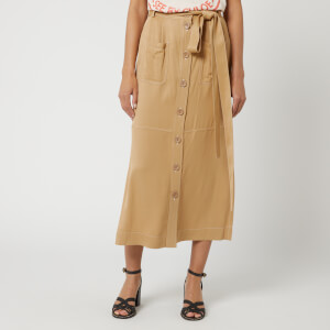 See By Chloé Women's Midi Button Skirt - Jungle Brown