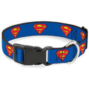 Buckle-Down DC Comics Superman Plastic Clip Dog Collar - Blue (Various Sizes)