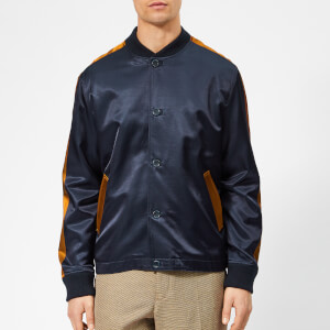 YMC Men's Turf Satin Bomber Jacket - Navy/Rust