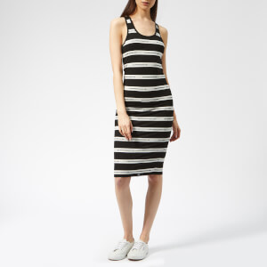 Superdry Women's Mila Stripe Midi Dress - Mono Text Stripe
