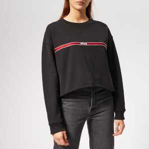 Levi's Women's Graphic Raw Cut Crew Sweatshirt - Levi's Type Tape Caviar