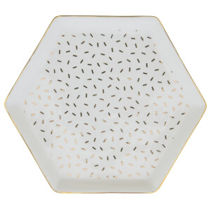 Candlelight Hexagon White/Gold Spot Trinket Dish