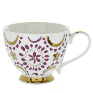Candlelight Bone China Footed Mug - Plum and Gold