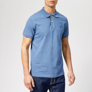 GANT Men's Contrast Collar Pique Short Sleeve Rugger - Denim Blue Mel