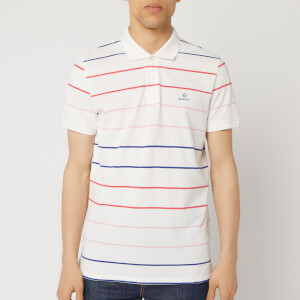 GANT Men's O1. Multi Stripe Short Sleeve Pique Rugger - Eggshell