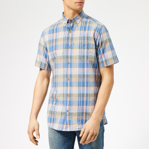 GANT Men's O2. Pastel Madras Reg Bd Short Sleeve Shirt - Peach Bud