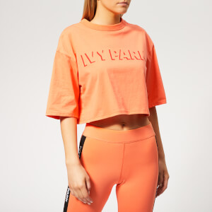 Ivy Park Women's Logo Crop Shorts Sleeve T-Shirt - Melon