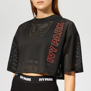 Ivy Park Women's Active Craft Mesh Crop T-Shirt - Black