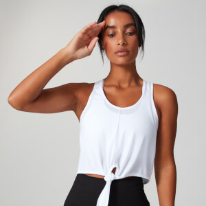 MP Tie Front Crop Vest - White