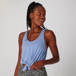 Tie Front Crop Vest - Vista Blue