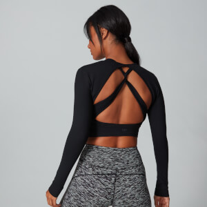 Power Open Back Crop Top - Musta