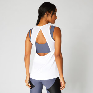 MP Mesh Detail Open Back Vest - White