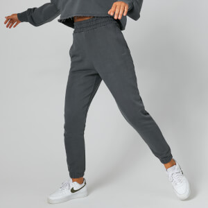 High-Waisted Washed Joggers - Grå