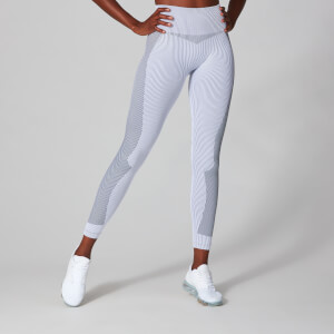 MP Women's Contrast Rib Seamless Leggings - White/Black