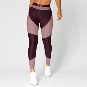 Metallic Panelled Leggings — Mørk Rød